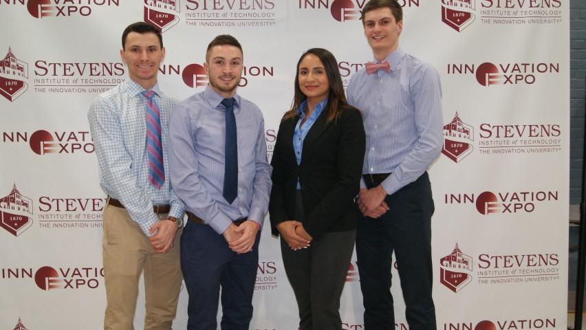 Stevens BridgeWorks Team, from left to right: Matthew DiMarco, Nicholas Zickgraf, Yonaida Brito and Taylor Burd. CREDIT: Khamini Persaud.