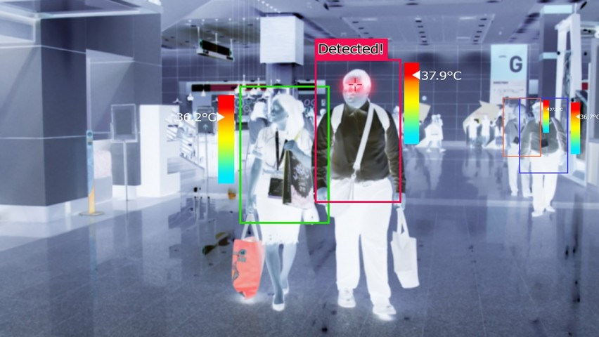 An image showing a heat map of people in a corridor