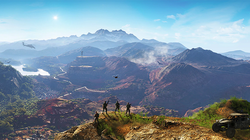 Screenshot of a mountainous landscape in the video game