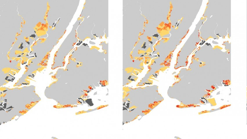 A series of three pictures showing how flooding will impact the coastline of a body of water. The third picture in the series shows the biggest effect from flooding; the first shows the least effect.