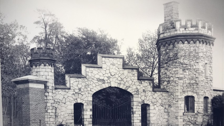 A vintage black and white photo of the gatehouse at Stevens Institute of Technology
