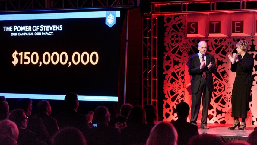 Stevens reveals its $150 million campaign goal on stage at campaign event