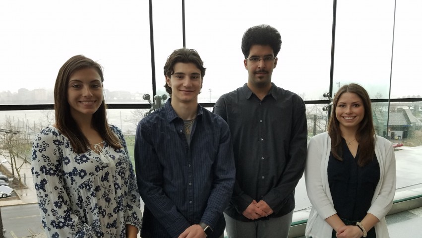 Stevens engineering management students Jessica White, Nicholas Russo, Mohammed Al Saud and Caroline DeLuca