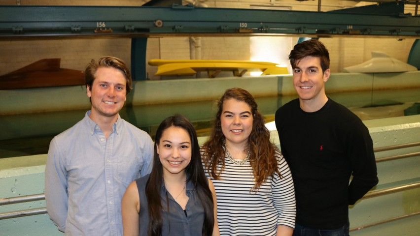 Four Stevens students who deisgned the Sail-Assisted Bulk Carrier