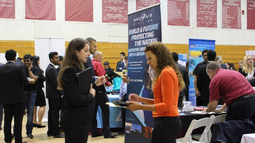 Stevens students and recruiters interacting in the Schaefer Athletic Center