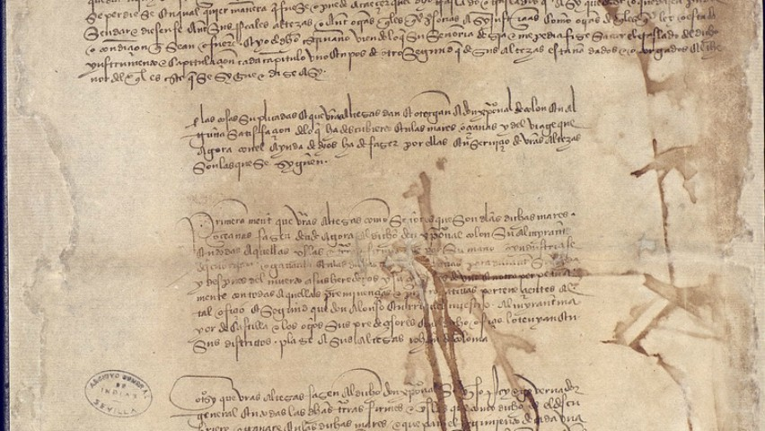 image of historical documents from Indies archive in Seville, Spain