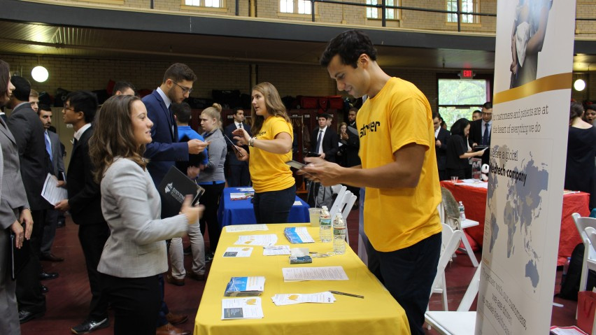 Inside Walker Gym, Stevens students meet and engage with recruiters during the fall 2018 internship fair.