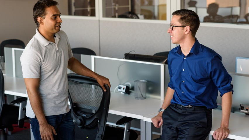 Kevin Barresi, FinTech Studios CTO (right), in the Stevens Venture Center with SVC Fellow and Assistant Professor Mukund Iyengar