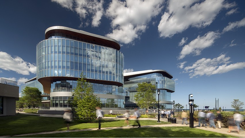 Picture of the Kellogg Global Hub building in Evanston, Illinois.