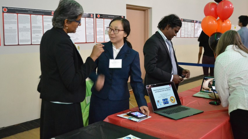 Stevens professor Koduvayur Subbalakshmi speaks with students Zongru (Doris) Shao and Harish Sista at the 2018 LifeSciences Summit. CREDIT: Shreya Parekh