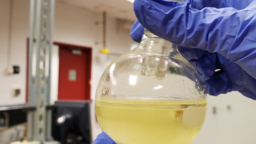 Hands holding flask in lab