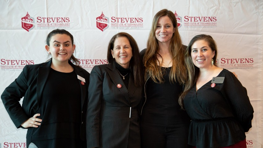 (l-r) Emily Kovelesky '21, Malena Higuera '75, Deanne Bell and Liliana Delman, assistant director for diversity education