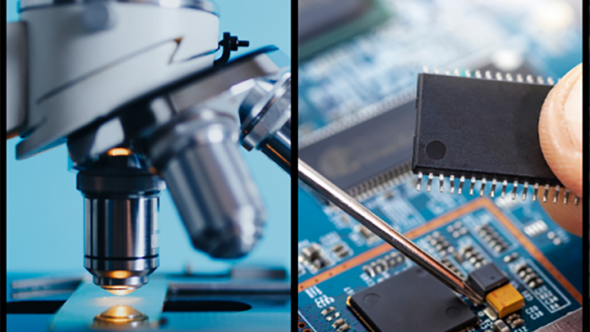 Photos of microscope and computer chips