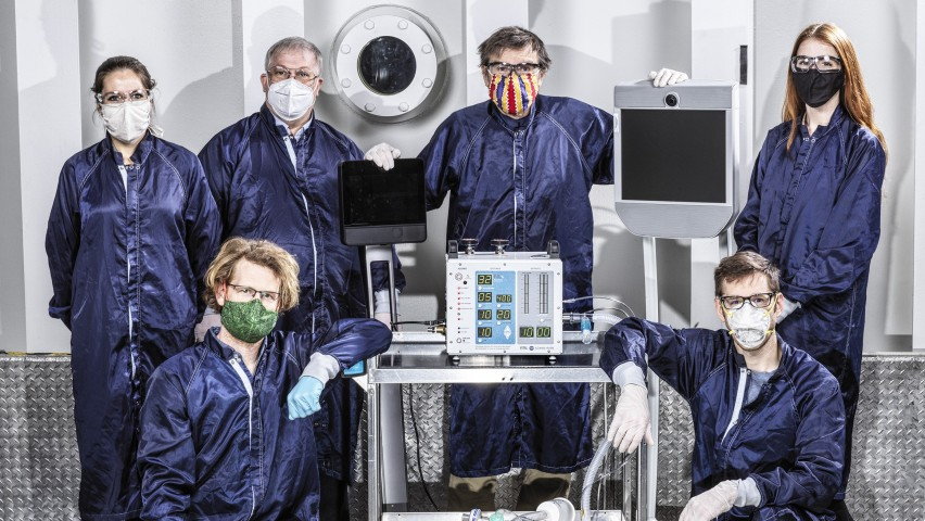 Group photo of Mary Michelle Easter '15 with her team at JPL and the VITAL ventilator.