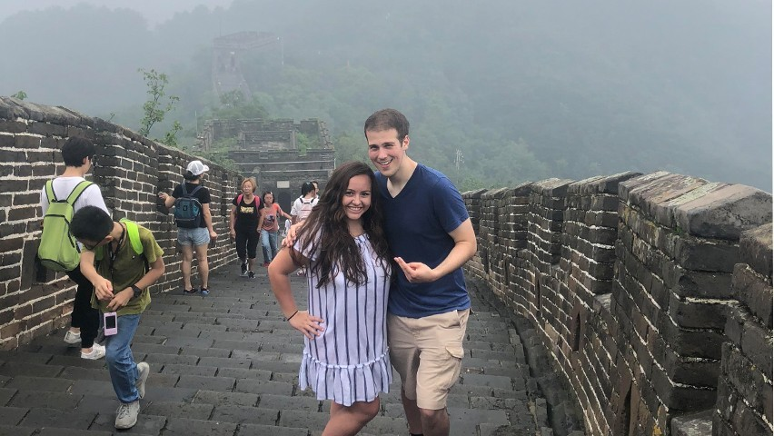 Mary McNeil and Matthew Falco on the Great Wall as part of the Experiencing China Tsinghua International Summer School program. CREDIT: Matthew Falco.