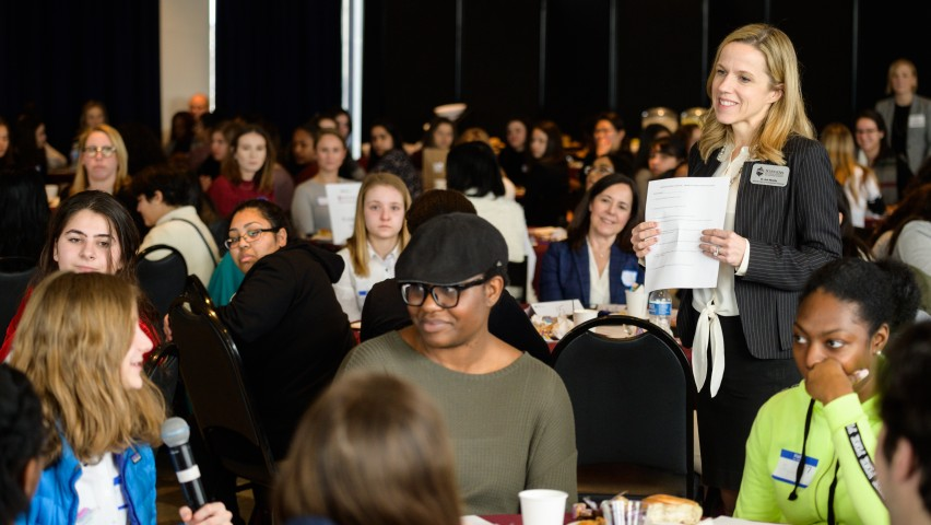 Ann Murphy speaking at a campus event