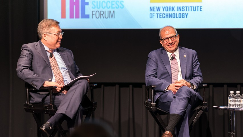 On stage, from left to right: Junius Gonzales, provost and vice president of academic affairs at New York Institute of Technology, and Stevens Institute of Technology President Nariman Farvardin