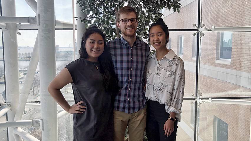 Photo of Stevens students Jane Castro, Brennan Casey, and Julia Yang in the Babbio Center.