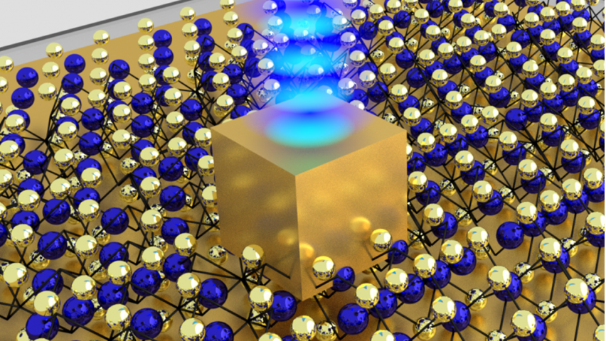 A single gold nanocube sits on top of an atom-thin material made of unique semiconductor crystals. The five nm gap is created between the bottom side of the gold nanocube and the gold mirror below it, concentrating enough energy to create a stream of photons.