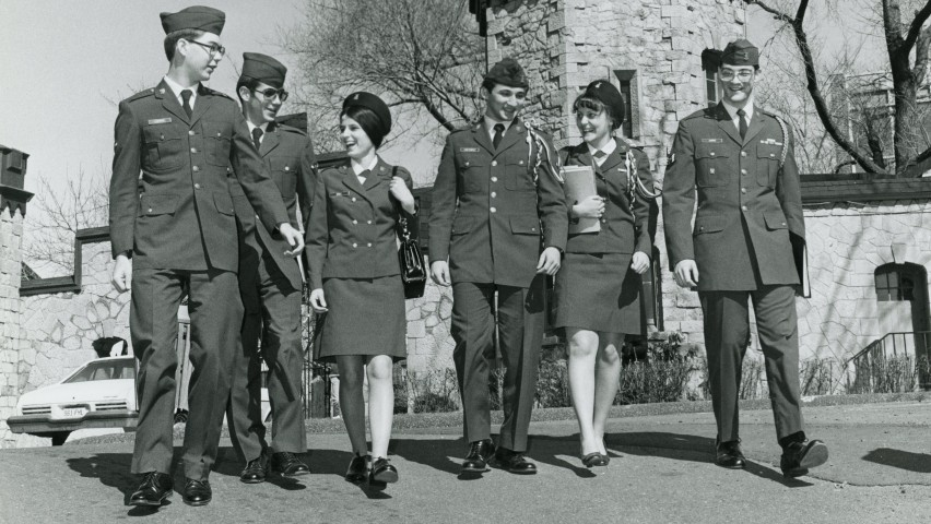 historical photo of students in ROTC uniforms