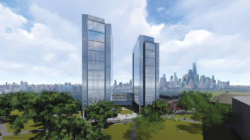 A rendering of an aerial view of the Student Housing and University Center with Manhattan skyline in the background