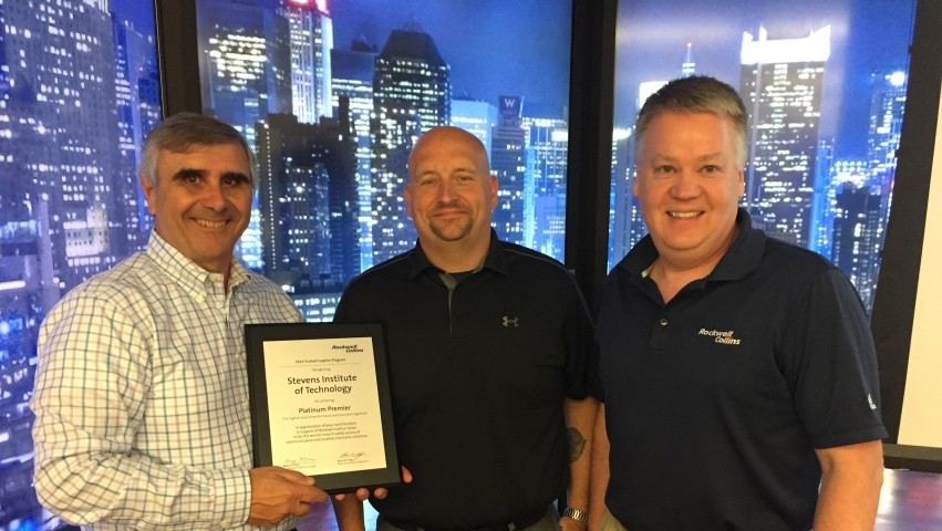 Interim Dean Anthony Barrese receiving Platinum Award from Rockwell Collins on behalf of Stevens Institute of Technology