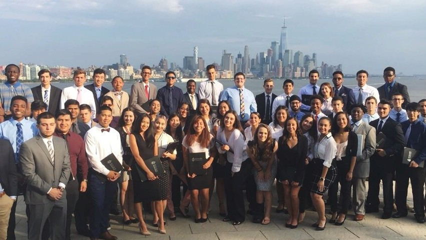 Members of the Class of 2021 who participated in the 2017 STEP Bridge Summer Program gather for a picture at Castle Point Lookout with lower Manhattan as a backdrop