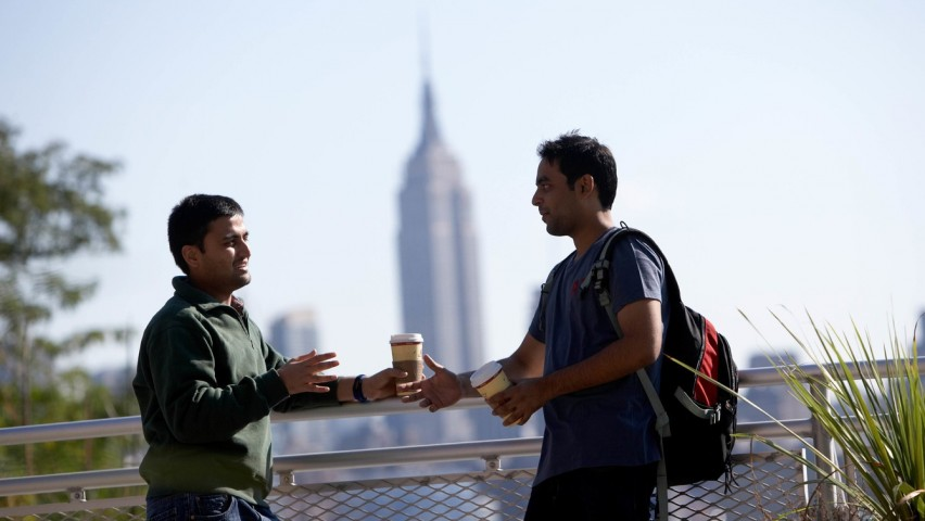 Stevens students on campus with Empire State Building in background