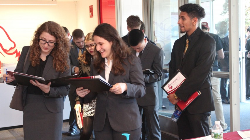 Students wait in line to attend the 2017 Spring Career Fair