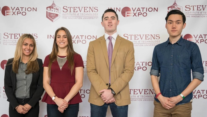 Stevens engineering management students from left to right: Michele Meade, Gina Salmins, Robert Sarrow and Peter Yeung