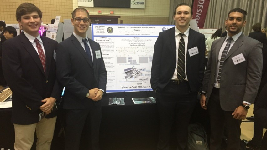 Stevens engineering management students at Stevens Innovation Expo event