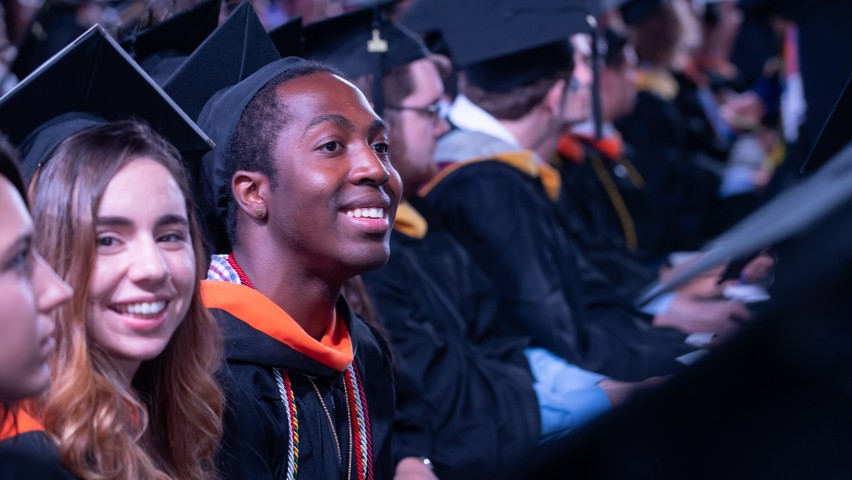 A row of Stevens Institute of Technology undergraduate students seated during the commencement ceremony