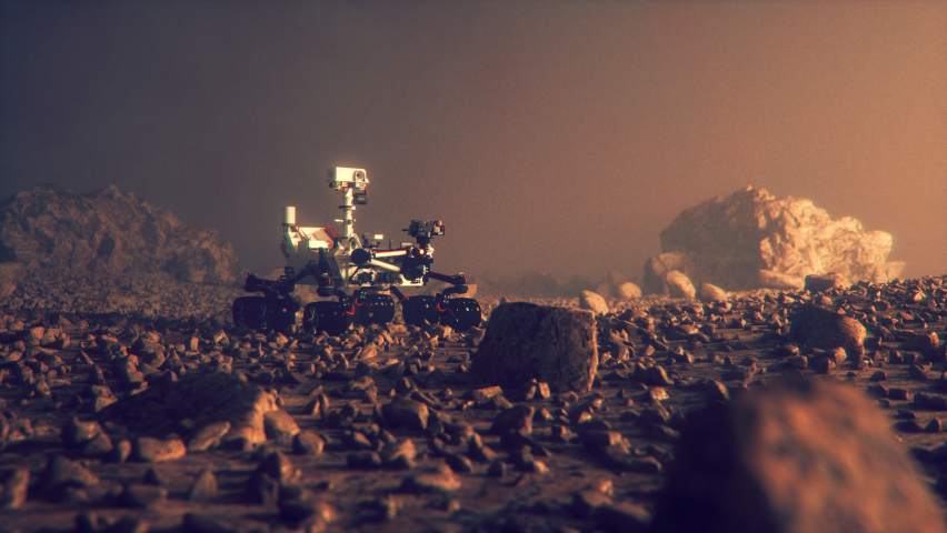 illustration of a rover on Mars
