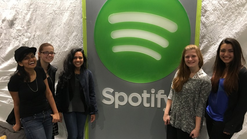 SWiCS members Roma Shah, Weronika Zamlynny, Monica Razak, Zoe Millard, Ayse Akin at the Spotify office in New York City during a technology networking event.