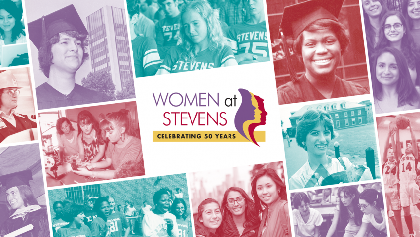 decorative photo collage of women with a logo in the center that says 50 years of women at Stevens