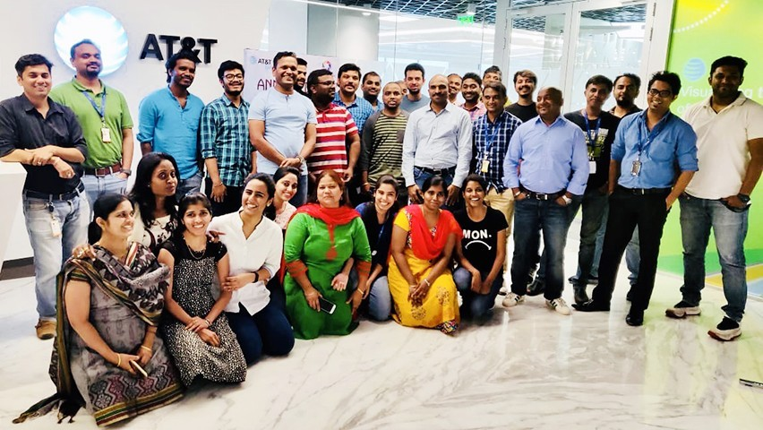 A group of AT&T employees and interns at the company's Hyderabad office.