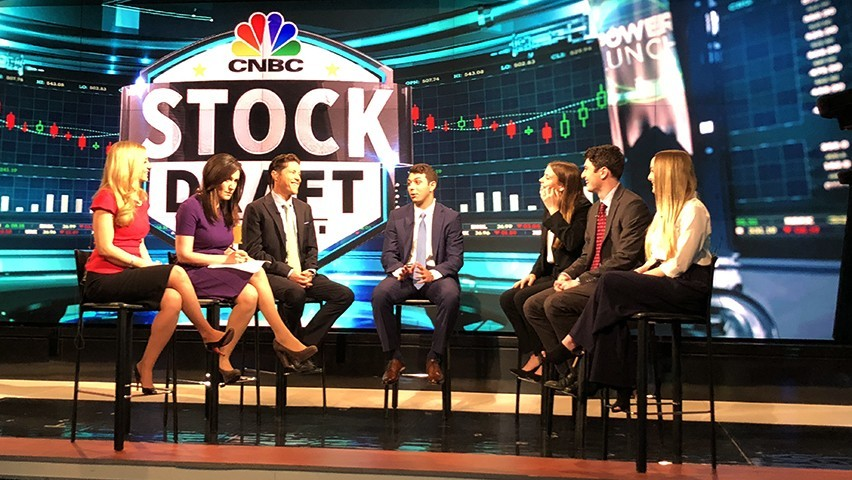 Stevens students on air live at CNBC's news studios in New Jersey.