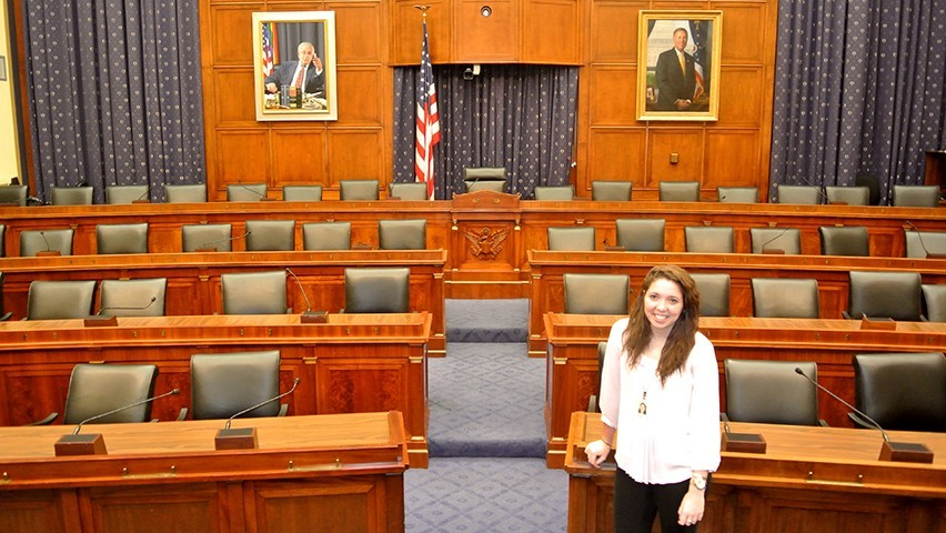 Stevens student Carolyn Cochran in the Capitol building in Washington, D.C.