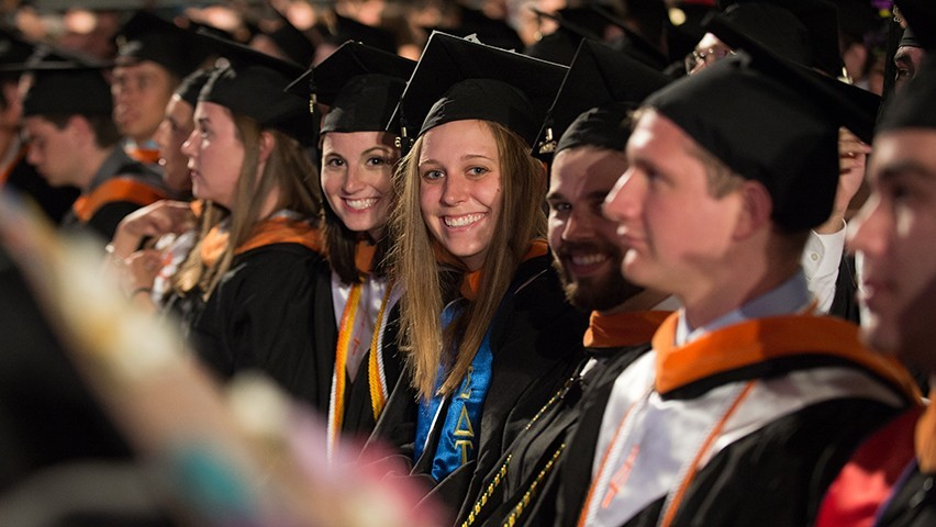 Students celebrate during the 2016 commencement.
