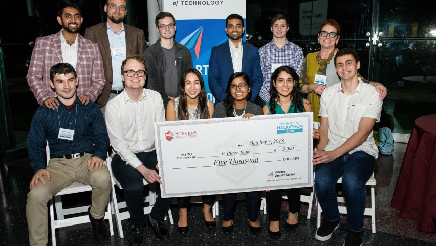 Top prize-winners at the Stevens Venture Center's HealthTech Hackathon, with event organizers