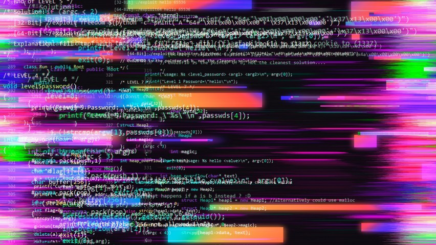 Random stripes of exploit malware code