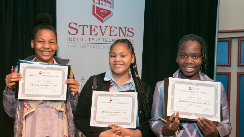 2018 Stevens Math Olympiad participants, from right to left: Grace Thompson, Morgan Semoy and Genesicia Ayeh, CREDIT: Jeff Vock