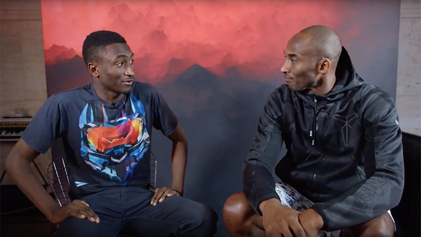 A screenshot from MKBDH showing Stevens student Marques Brownlee interviewing Kobe Bryant about his high-tech sneakers.