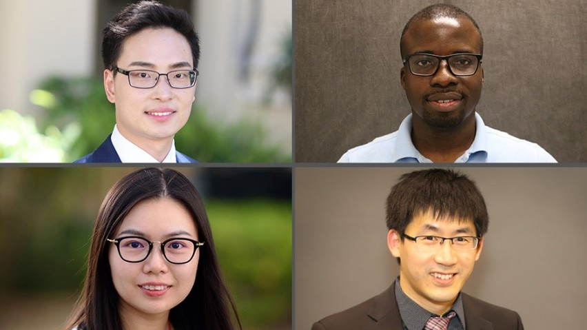 New SSE faculty for Fall 2020 - from top left to right: Changyue Song, assistant professor; Oluwafemi Richard Oyeleke, assistant professor; bottom left to right: Ting Liao, assistant professor; Feng Liu, assistant professor.