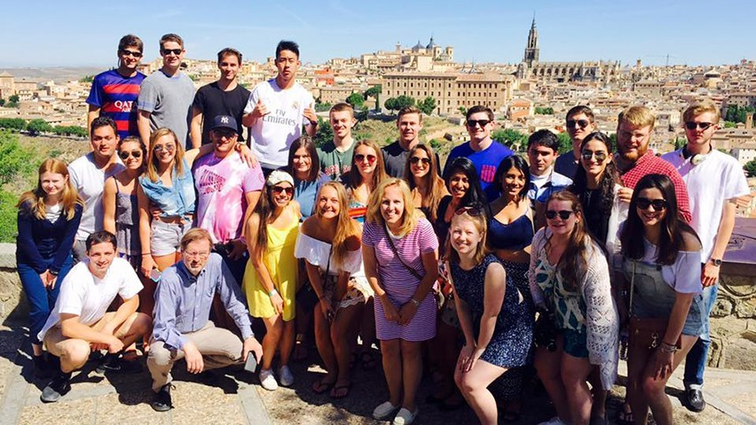 Stevens business students pose for a group photo in Toledo, near Madrid, in Spain.