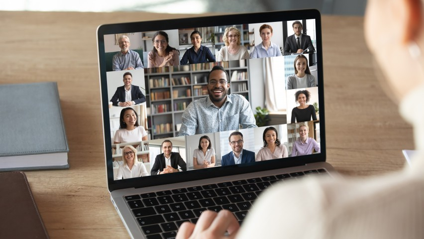 Computer screen with multiple faces doing video chat