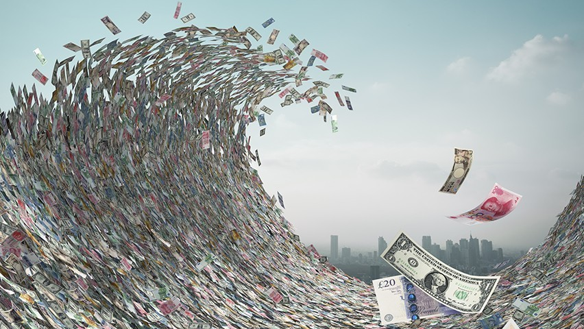 An illustration of a tidal wave of currencies crashing down on a city skyline.