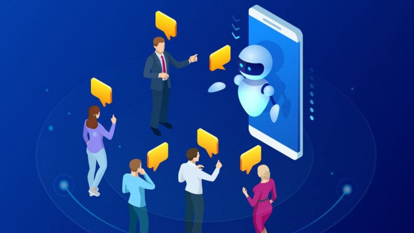FIve men and women conversing wit a wikibot. Each person has a yellow talk balloon above their head, as does the bot. The bot is in front of an iphone.