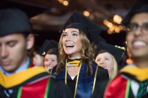 Excited female at Stevens undergraduate commencement ceremony on May 24, 2017. CREDIT: Kathy Cacicedo.