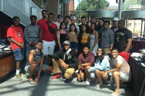 Large group of first generation college students